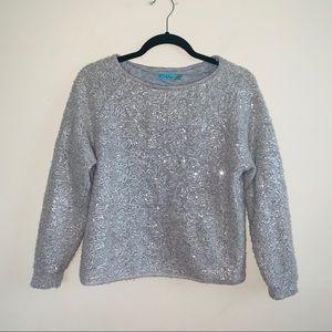 Alice + Olivia Gray Sequins Crewneck Sweater Sz XS